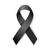 Vector illustration, Black awareness ribbon isolated on a white background. Mourning and melanoma symbol. Terrorism and death symbol.