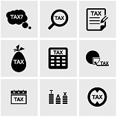 Vector black tax icon set