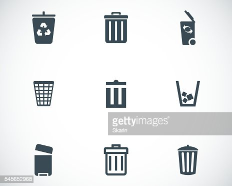 Vector black trash can icons set : stock vector