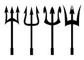 Vector black trident icons set on white background