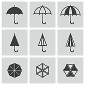 Vector black umbrella icons set on grey background