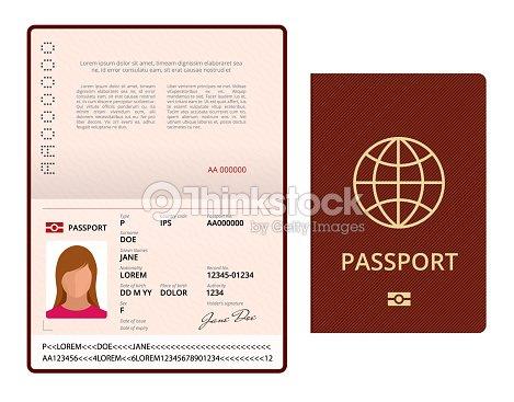 Vector Blank Open Passport Template International Passport With ...