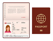 Vector Blank open passport template. International passport with sample personal data page. Document for travel and immigration. Isolated vector illustration
