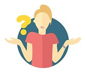 Vector blonde woman with a question mark. Girl doubts. 'I don't know' expression