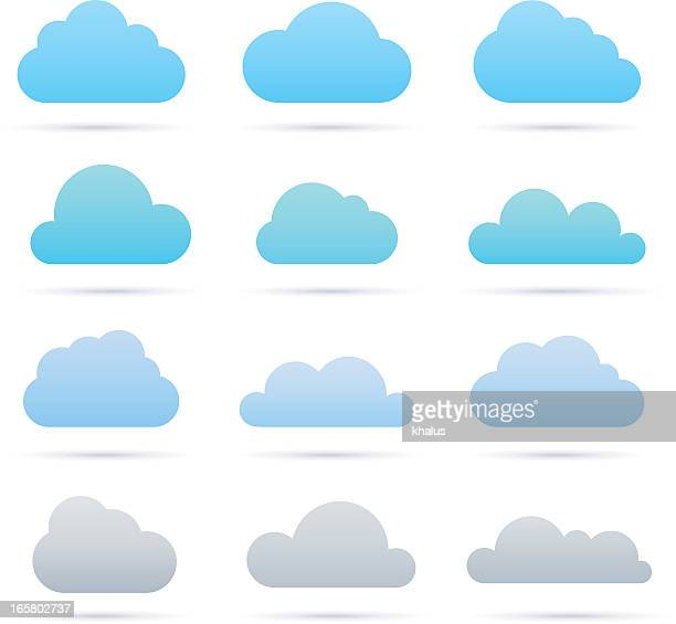 Vector blue and gray cloud icon set