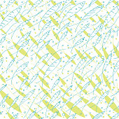 Vector blue and green hand drawn doodle school of fish seamless pattern. Blue line art and green silhouettes on white background. Great for fabric, scrap booking, web, paper products.