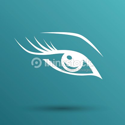 Vector Blue Eye With Long Lashes Woman Makeup Beauty Symbol Vector