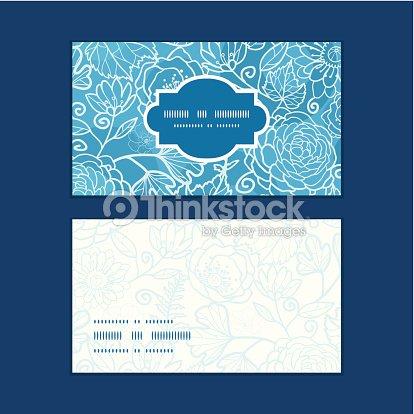 Vecteur Fleuri Bleu Champetre Texture Motif De Cartes Visite Horizontale Clipart Vectoriel