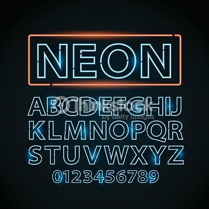 vector blue neon lamp letters font show vegas light sign vector art