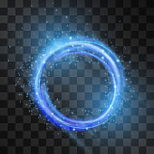 Vector blue neon light effect, circle frame with hazy flare. Magical glowing tail of shining stardust sparkles, winter illumination. Glistening energy ring flow in motion. Luxurious winter design.