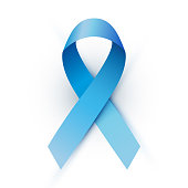 Blue ribbon isolated on a white background vector illustration. Men's health awareness month symbol.