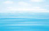 Vector blue sea and sky  background.