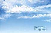Vector blue sky background with transparent clouds.