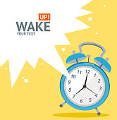 Vector illustration blue wakeup clock card, place for your text. Flat Design