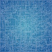 Vector blueprint with city topography