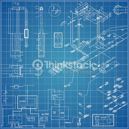 Vector blueprint with electrical vector art thinkstock vector blueprint with electrical vector art malvernweather Images