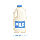 Vector bootle milk icon. Dairy product in plastic packaging. Cartoon style.