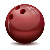 Red isolated bowling ball on white background
