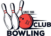 Vector bowling club icon for print, design, internet on white background