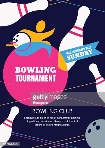 Vector Bowling Tournament Banner Poster Or Flyer Design Template