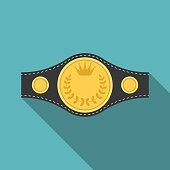 Vector boxing championship belt icon with long shadow, flat design