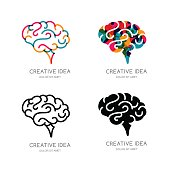 Vector brain logo, sign, or emblem design elements. Outline color human brain, isolated icon. Concept for business solutions, high technology, development and innovation, creativity.