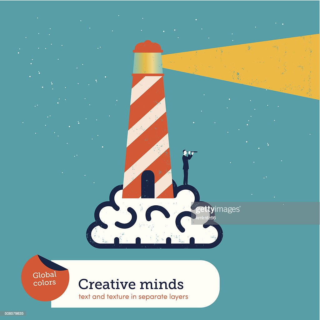 Vector brain with lighthouse : Vector Art