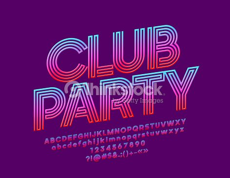 Vector bright banner Club Party with Gradient color Font : stock vector