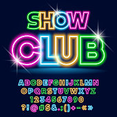 Set of Colorful Glowing Alphabet Letters, Numbers and Symbols