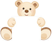 Vector cute brown bear holding blank isolated.