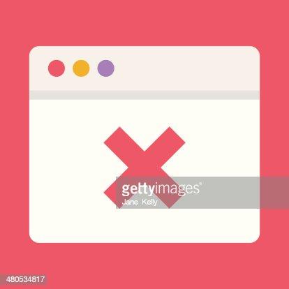 Vektor-Browser und X Mark-Symbol : Vektorgrafik