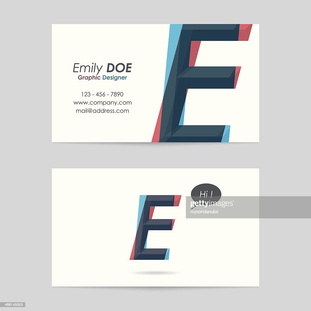 Vector Business Card Template Letter E Vector Art | Getty Images