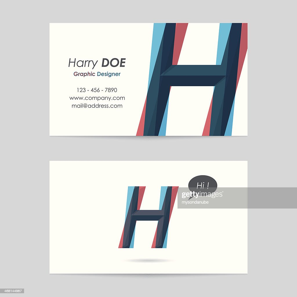 Vector Business Card Template Letter H Vector Art | Getty Images