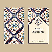 Vector business card template. Portuguese, Moroccan; Azulejo; Arabic; asian ornaments. Geometric and floral motifs
