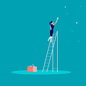 Vector business concept illustration with business lady standing on stairs and reaching star on the sky. Blue background. Reach your dream, aspirations and solutions - metaphor.