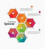 Vector Business Infographic Template Design with Business Icons - Abstract vector template design, brochure, page, leaflet, with colorful polygon backgrounds, logo and text separately
