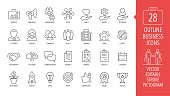 Vector business isolated editable stroke thin line icon set with marketing, customer, relationship, fist bump, communication, contract, strategy, logistics, calendar and more outline sign.