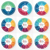 Vector business pie chart templates for graphs, charts, diagrams.  Business circle infographic concept with options, parts, steps,  processes.