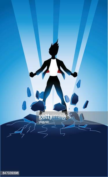 Vector Businesswoman Superhero Bursting Energy Out Silhouette