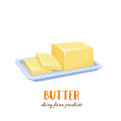 Vector butter icon. Sliced farm dairy products on a plate. Cartoon style.