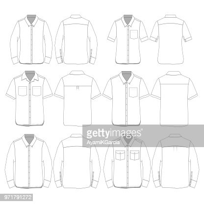 Vector Button Down style Shirt Template : stock vector