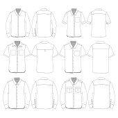 Various Styles of Button down style shirt template