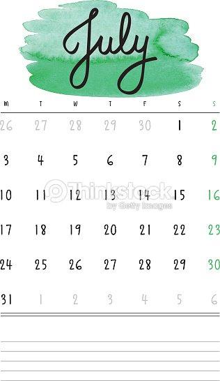 ベクトルカレンダー2017テンプレートにグリーンの水彩に染料を塗る