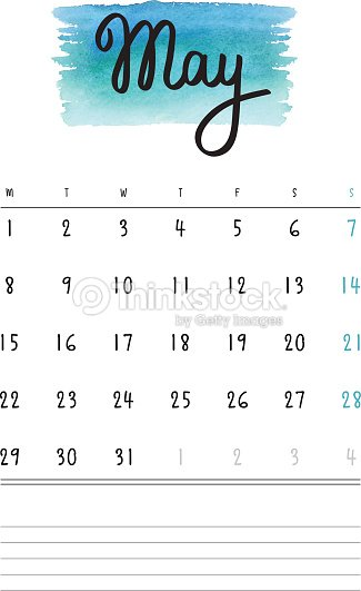 Vector Calendar 2017 Template With Light Blue Watercolor Stain