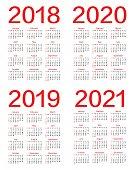Vector calendar for 2018 2019 2020 2021 year.
