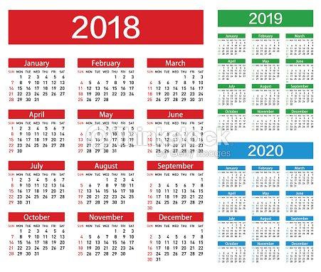Calendrier De Vecteur Pour Lannée 2018 2019 2020 clipart ...