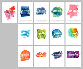 A scalable vector calendar for the year 2017. Each of the twelve months and the cover is presented on a corresponding bright watercolor texture. There is a place for text and logos