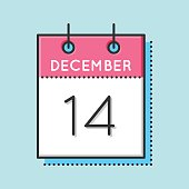 Vector Calendar Icon. Flat and thin line vector illustration. Calendar sheet on light blue background. December 14th