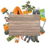 Vector Camping Concept with Wooden Plank isolated on white background