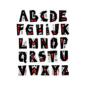 Vector capital cut out alphabet in pagan style with patterns.